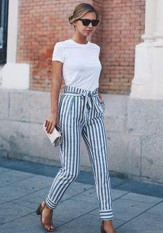 Light Blue Striped Print Belt High Waisted Fashion Pencil Pants