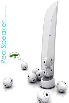 The Pea Speaker system concept - each pod holds up to seven wireless Bluetooth speakers that can be placed anywhere you like, assuming you don't walk out of the connection range...