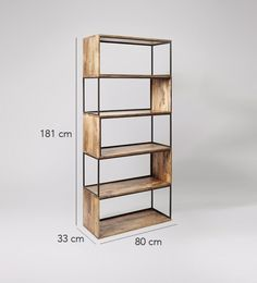 Holt shelving unit in mango wood and charcoal, large