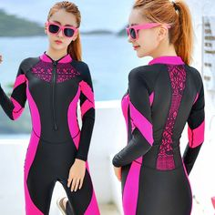 (28.07$)  Buy here - http://aizfh.worlditems.win/all/product.php?id=32784491410 - Sexy Lace Wetsuit Women Zipper Swimsuit Full Body Jumpsuits Diving suit Rash Guard Wetsuits for Swimming Surfing Sports Clothing