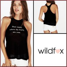 ❤️WildFOX Cupid Tank❤️ ✨WildFox Racer Back, Scoop Neck Sheer Ribbed Tank✨Super Soft and Light with Amusing Expletive. NWTs✨Size XSmall✨Would Also fit Size Small. Wildfox Tops Tank Tops