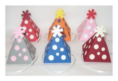 Polka Dot cumpleaños sombrero Favor caja Color plantilla Digital PDF imprimible (colores de encargo disponibles)