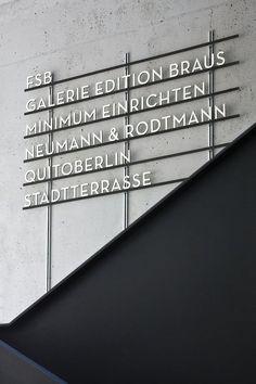 signage system for Aufbau Haus, Berlin by Moniteurs Signage Display, Signage Design, Typography Design, Brewery Design, Corporate Design, Retail Design, Metal Signage, Wayfinding Signage, Industrial Signage