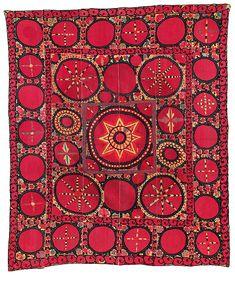 Pskent suzani I Uzbekistan, mid-19th century I as published by Hali I auction listing