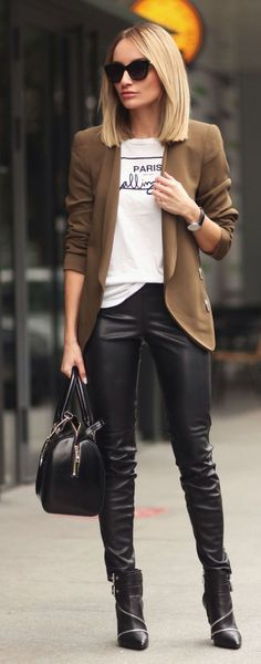 leather trousers with brown coat and boots
