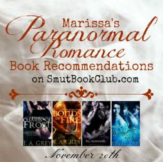 Best Paranormal Romance Book Recommendations Nov 20 http://smutbookclub.com/best-paranormal-romance-book-recommendations-november-20/