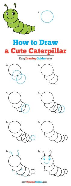 Anime Drawing Tutorial - Learn to draw a cute caterpillar. This step-by-step tutorial makes it easy. Kids and beginners alike can now draw a great looking caterpillar. Drawing Tutorials For Kids, Easy Drawings For Kids, Drawing For Beginners, Basic Drawing For Kids, Doodle Drawings, Animal Drawings, Cute Drawings, Drawing Lessons, Drawing Tips