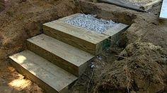 landscape timber steps - YouTube