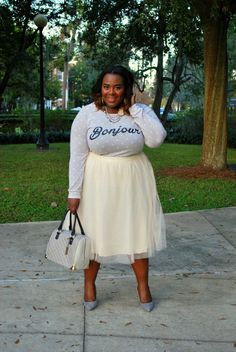 French, Tulle Skirt, Plus Size Fashion, Fashion Blogger, Grey