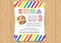 Rainbow Stripes Birthday Invitation by TheOlivePressPaper on Etsy