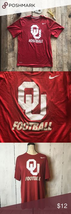 """University of Oklahoma Nike Dri-FIt T Medium In perfect condition without snags or stains. Nike Swish & OU Football emblems perfect. Playoffs start for the National Championships New Years! Men's medium but as with most athletic tees can be Unisex. Women's medium to large depending on your body type and preferred fit.   Get this for the football parties this year but enjoy for years to come! 21"""" armpit to armpit  28"""" long  Listing this under women's category (no unisex choice) too but I only…"""
