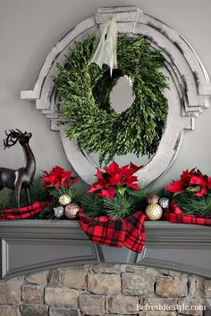 Christmas Mantel with boxwood wreath at refreshrestyle.com
