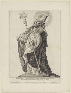 Cornelis Visscher (II) | H. Gregorius van Utrecht, Cornelis Visscher (II), Pieter Claesz. Soutman, unknown, 1650 | De heilige Gregorius van Utrecht, afgebeeld als een bisschop met mijter en kromstaf. Deze prent maakt deel uit van een reeks Nederlandse heiligen.