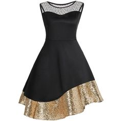 Black 5xl Plus Size Sequins Mesh Insert Cocktail Dress ($16) ❤ liked on Polyvore featuring dresses, women plus size dresses, sequined dress, sequin embellished dress, mesh inset dress and plus size cocktail dresses