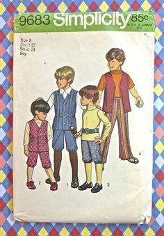 Simplicity 9683 Vintage 1970s Boys Vest Knickers by Fragolina, $4.50