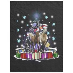 Horses with Christmas Styles Fleece Blanket - horse animal horses riding freedom