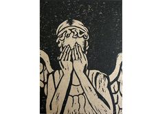 Weeping Angel, Doctor Who - A hand printed linocut card