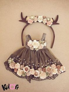 Little deer Flowers dress Set – – Little deer Flowers dress Set by kuloft on E… - Stofftiere Baby Girl Party Dresses, Little Girl Dresses, Baby Dress, Dress Set, Doll Clothes Patterns, Doll Patterns, Flower Dresses, Toddler Dress, Doll Accessories