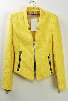 Yellow Collarless Long Sleeve Zipper Suit jacket