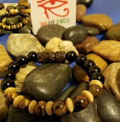 Black glass beads,  wood spacers and tigers eye stones. | Shop this product here: http://spreesy.com/3rdEyeDiva/689 | Shop all of our products at http://spreesy.com/3rdEyeDiva    | Pinterest selling powered by Spreesy.com