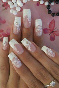 Bride Nails, Wedding Nails, Colorful Nail Designs, Nail Art Designs, Airbrush Nails, Bridal Nail Art, Tribal Nails, Rhinestone Nails, Glitter Nail Art