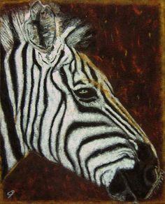 Portrait d'un Zèbre - Tableau de sable et terres naturelles - sand painting - http://www.david-cadran.com/wp-content/uploads/2014/10/Zebre.jpg