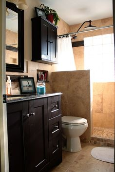 This is sort of the idea we have for our master bath.  It's a tiny space (smaller than this pic), but we are going to enlarge it by 3' in length,so this is doable!  Love the dark cabinets.