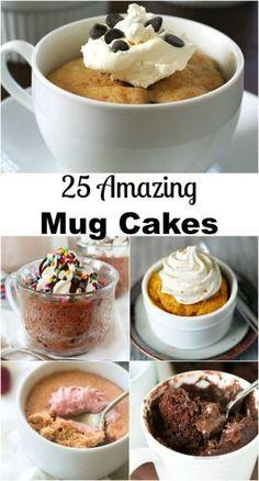 in Seconds! 25 Amazing Mug Cakes Dessert in Seconds! 25 Amazing Cakes in a Mug on Dessert in Seconds! 25 Amazing Cakes in a Mug on Mug Cake Receta, Dessert In A Mug, Mug Dessert Recipes, Think Food, Cookies, Just Desserts, 5 Minute Desserts, Single Serve Desserts, Single Serving Cake
