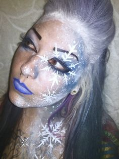 Frozen Winter nymph fairy snow snowflake makeup Halloween face paint