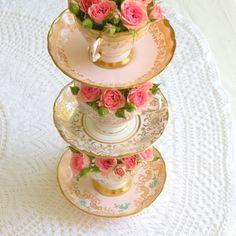 floral tea cup stacks