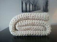 Free Shipping Modern Crochet Blanket  Cream by MakeItCozyCrochet