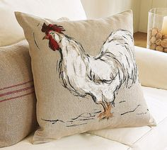 rooster painting on Linen Rooster Decor, Red Rooster, Rooster Art, Pottery Barn Pillows, Rooster Painting, Rooster Kitchen, Chicken Art, Chickens And Roosters, Galo