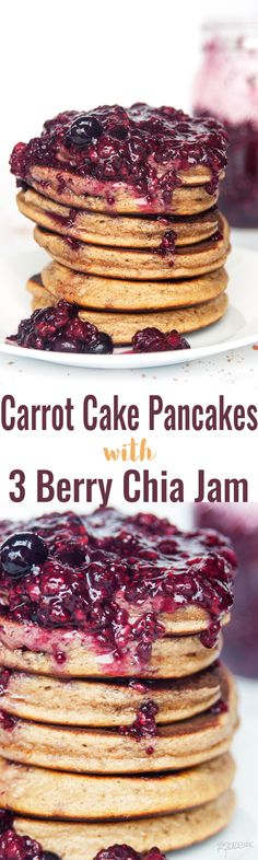 Carrot Cake Pancakes with 3 Berry Chia Jam - this simple and easy gluten free and grain free pancake recipe is the ultimate breakfast (or brunch). Made with Epicure products, this is a new favorite recipe! thebewitchinkitchen.com