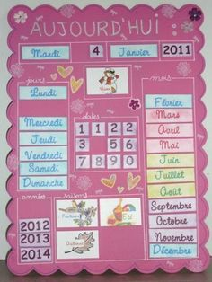 (Picture only) This would be good for the class calendar Classroom Calendar, School Calendar, French Classroom Decor, Kids Planner, School Displays, Wishes For Baby, Craft Projects For Kids, Teaching French, Kids Education