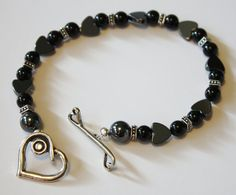 Black Heart of Mine Jewelry to make you by JustforJoyCreations, $15.00 #bracelet #heart #black #gift #fall #holiday #jewelry