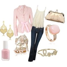 Pink Chic! love this !! omg especially the 2 rings the polish the clutch the earrings the coat and the tank