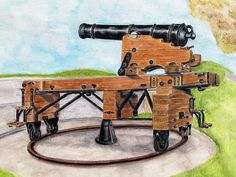"A ""Carron"" pivot gun, at Crownhill Fort, Plymouth, England. Medium: watercolor crayon on watercolor paper."