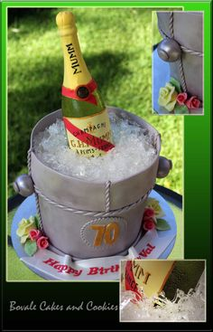 Champagne Bottle Ice Bucket Cake