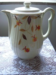 Autumn Leaves Hall Pottery Large Teapot CLEARANCE DE STASH by kd15