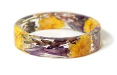 Flower Jewelry- Tropical Jewelry- Jewelry with Real Flowers- Dried Flowers- Purple Flowers- - Yellow Jewelry-Resin Jewelry by ModernFlowerChild on ETsy