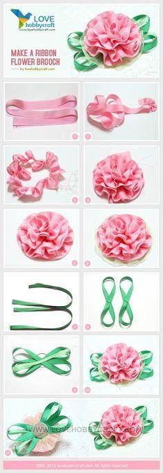Make a ribbon flower brooch by stella_fresa
