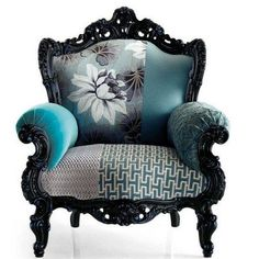 """""""Shades of Teal"""" antique chair by Moda"""