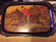 Vintage-Litholite-Fox-Hunt-Serving-Tray-Plastic-1950s-Made-In-USA-Horse-Dog
