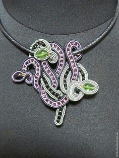 Купить Кулон Змеи,подвеска в сутажной технике,ручной работы - орнамент, тёмно-фиолетовый