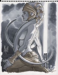 Sexy Jedi Knights - obviously by Adam Hughes. I love how the head appendage covers nip and keeps it PG-rated. Beautiful profile piece.