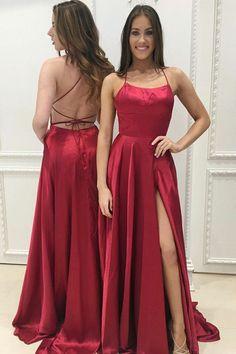 Pd71046 Charming Prom Dress,Satin Prom Dress, Spaghetti Straps Prom Dress,Backless Evening Dress