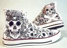 Converse Adult Converse All Star Chuck Taylor High-Top Sneakers, Size: Black Creative Ways To Tie Your Shoe Laces CONVERSE Converse Sneakers, Converse All Star, High Top Sneakers, Skull Shoes, Skull Fashion, Shoe Art, Painted Shoes, Custom Shoes, Custom Converse