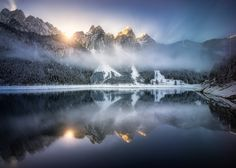 hpd-fotografy posted a photo:  Impressions from one of my favorite lakes in Austria. The hike to the (frozen and totally snowed in) upper lake (called Hinterer Gosausee) took much longer than we anticipated and we just made it back to the lower lake for sunset. Everybody else had left already and we had the whole lake for ourselves - in the best light of the day, with fog just starting to form. But there was a price to pay for that (and a reason why everybody else already left): It was still…