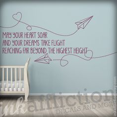 Paper Airplanes Quote Wall Decal - LARGE 48x22 (FREE shipping). $55.00, via Etsy.