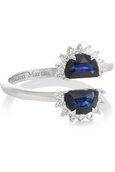 Pompadour 18-karat white gold, sapphire and diamond ring #ring #women #covetme #maisonmargielafinejewelry